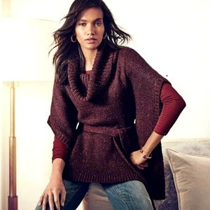 WHBM Wool Blend Belted Cowl Neck Poncho